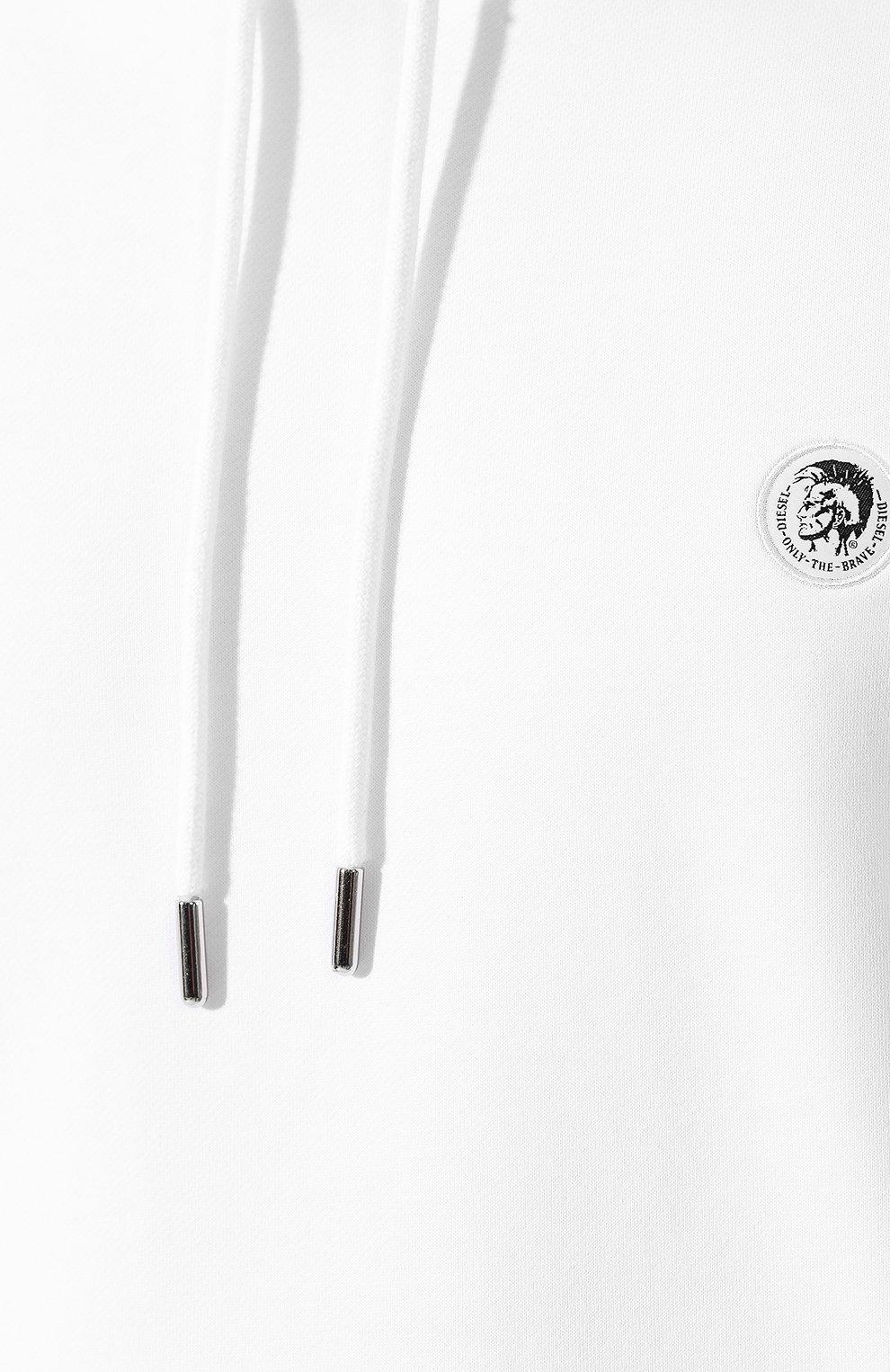 Мужской хлопковое худи DIESEL белого цвета, арт. 00SHEF/0NAUW | Фото 5