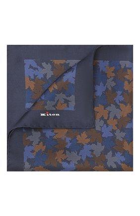 Мужской шелковый платок KITON синего цвета, арт. UP0CHCX02S55 | Фото 1