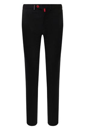 Мужской шерстяные брюки KITON черного цвета, арт. UFPP79K01S48   Фото 1
