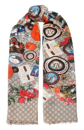 Мужской шерстяной шарф GUCCI разноцветного цвета, арт. 574993/4G200 | Фото 1