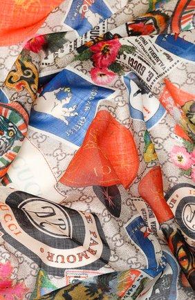 Мужской шерстяной шарф GUCCI разноцветного цвета, арт. 574993/4G200 | Фото 2