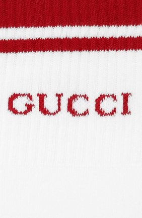 Мужские хлопковые носки GUCCI белого цвета, арт. 497462/4G293 | Фото 2