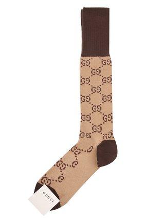 Мужские хлопковые гольфы GUCCI коричневого цвета, арт. 471093/4G592   Фото 1