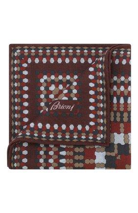 Мужской платок из смеси шерсти и шелка BRIONI бордового цвета, арт. 071000/08A9H | Фото 1