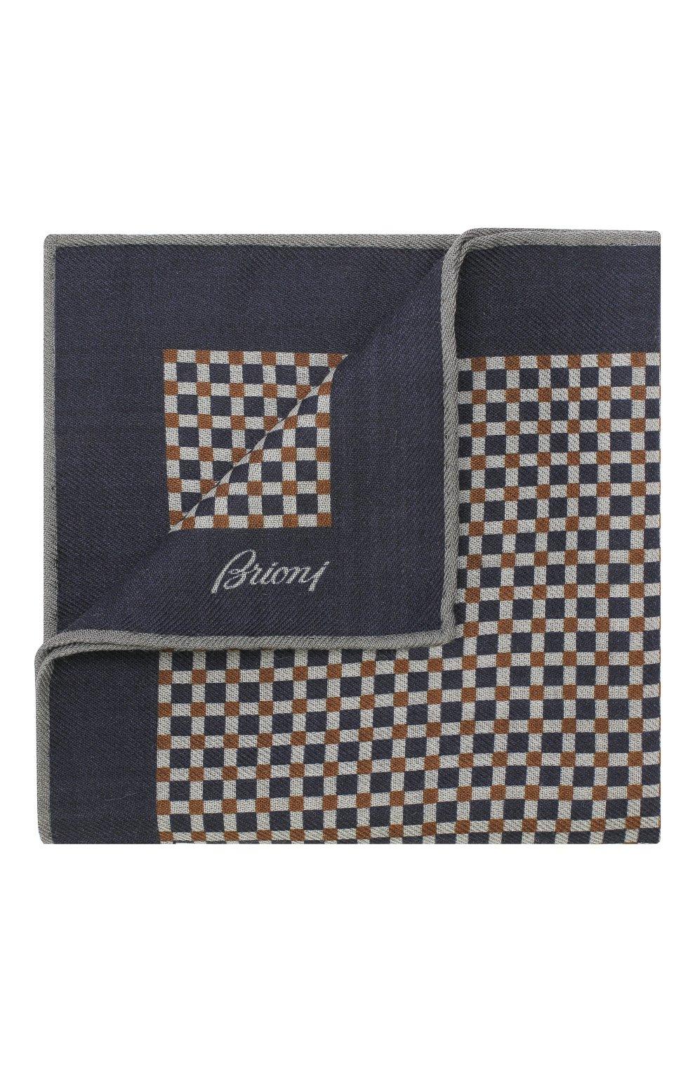 Мужской платок из смеси шерсти и шелка BRIONI синего цвета, арт. 071000/08A9G   Фото 1