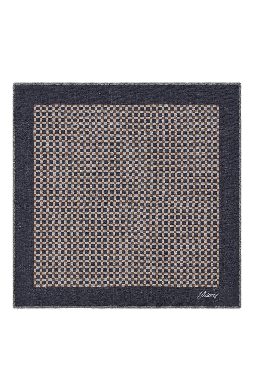 Мужской платок из смеси шерсти и шелка BRIONI синего цвета, арт. 071000/08A9G   Фото 3