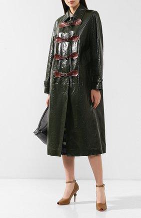 Женское кожаное пальто BOTTEGA VENETA зеленого цвета, арт. 564479/VF1B2   Фото 2