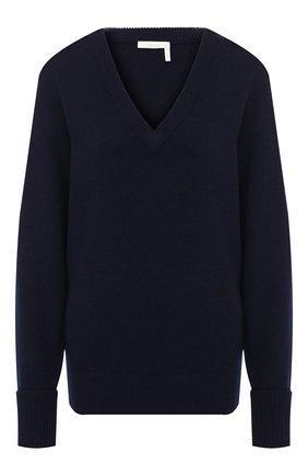 Женская кашемировый пуловер CHLOÉ темно-синего цвета, арт. CHC19AMP73500 | Фото 1