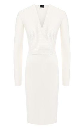 Женское шерстяное платье TOM FORD белого цвета, арт. ACK031-YAX223 | Фото 1 (Рукава: Длинные; Длина Ж (юбки, платья, шорты): До колена; Материал внешний: Шерсть; Случай: Формальный; Статус проверки: Проверена категория)