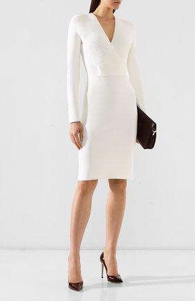 Женское шерстяное платье TOM FORD белого цвета, арт. ACK031-YAX223 | Фото 2 (Рукава: Длинные; Длина Ж (юбки, платья, шорты): До колена; Материал внешний: Шерсть; Случай: Формальный; Статус проверки: Проверена категория)