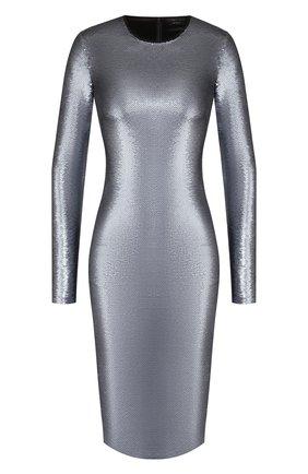 Женское платье с пайетками TOM FORD серебряного цвета, арт. ABJ366-FAE360 | Фото 1 (Длина Ж (юбки, платья, шорты): До колена; Рукава: Длинные; Материал внешний: Синтетический материал; Материал подклада: Шелк; Случай: Вечерний; Статус проверки: Проверена категория; Стили: Гламурный)