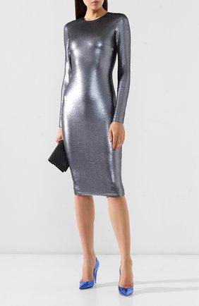 Женское платье с пайетками TOM FORD серебряного цвета, арт. ABJ366-FAE360 | Фото 2 (Длина Ж (юбки, платья, шорты): До колена; Рукава: Длинные; Материал внешний: Синтетический материал; Материал подклада: Шелк; Случай: Вечерний; Статус проверки: Проверена категория; Стили: Гламурный)