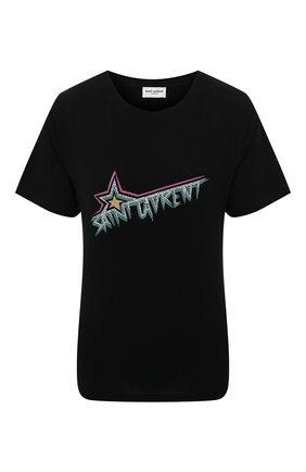 Женская хлопковая футболка SAINT LAURENT черного цвета, арт. 579020/YBJM2 | Фото 1