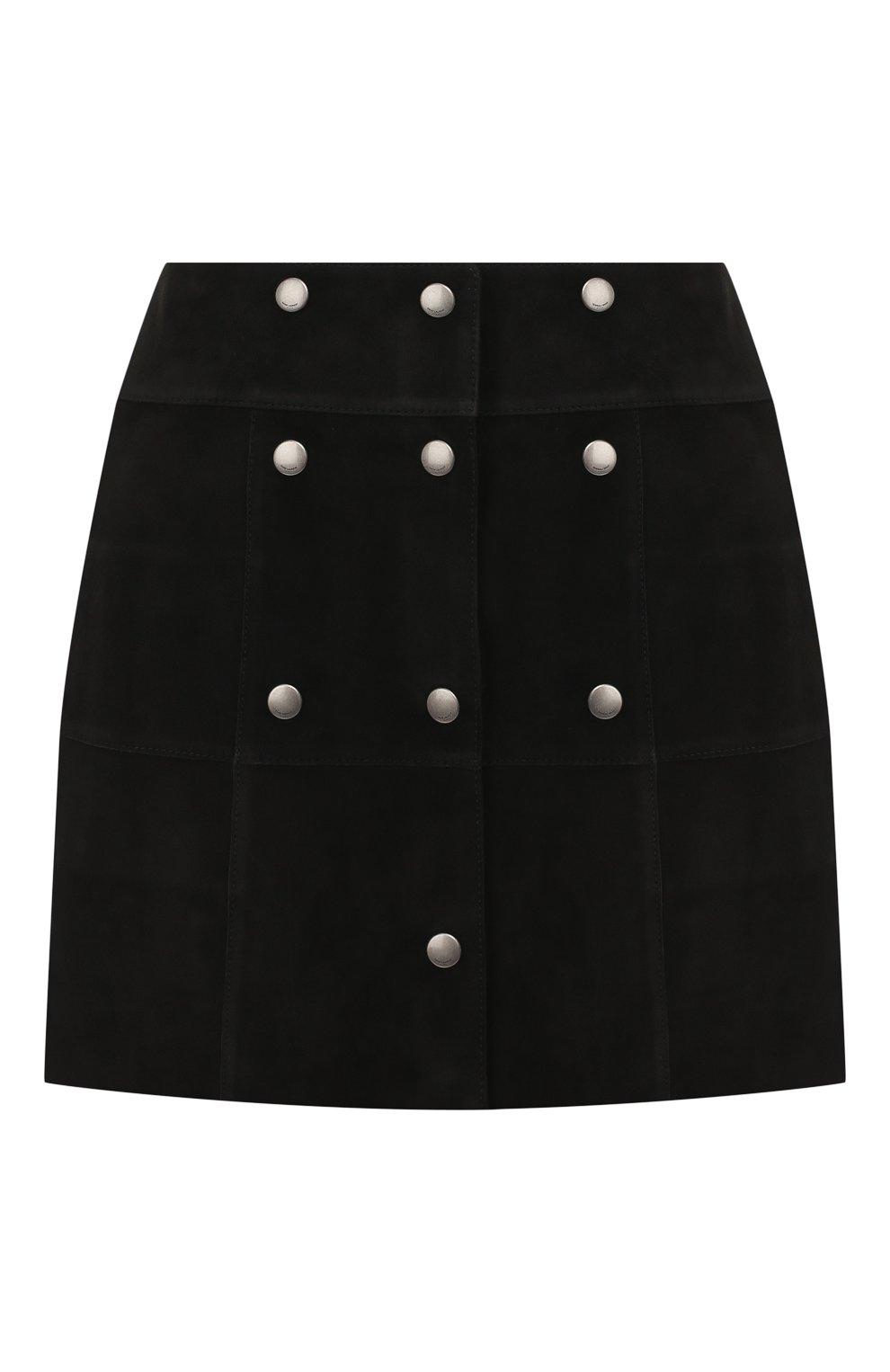 Женская кожаная юбка SAINT LAURENT черного цвета, арт. 572284/YC2RK | Фото 1