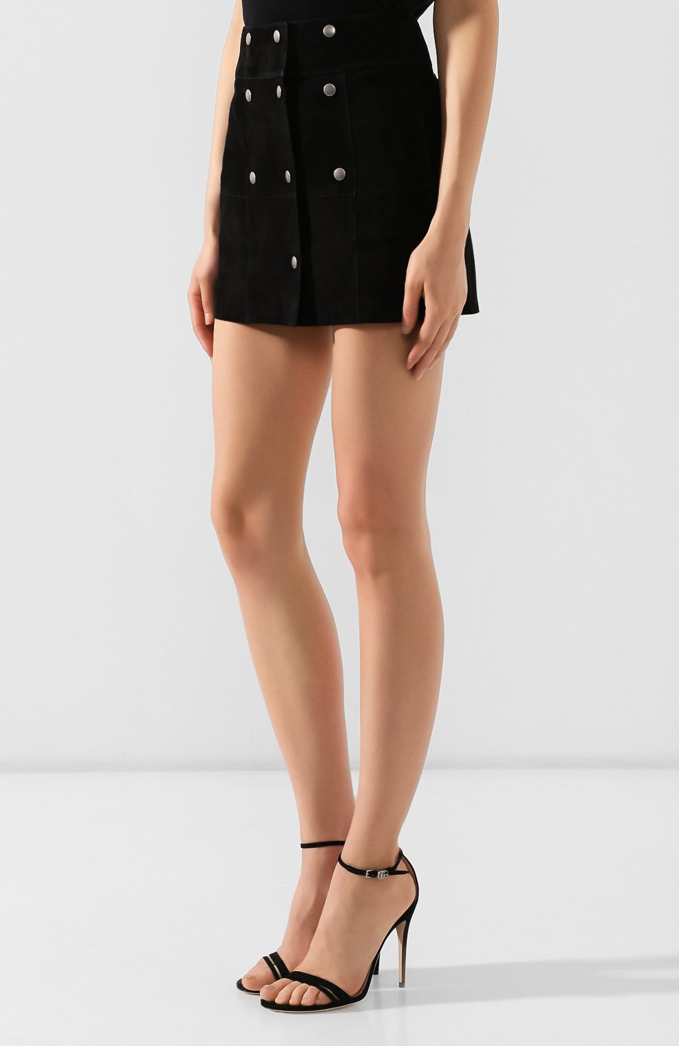 Женская кожаная юбка SAINT LAURENT черного цвета, арт. 572284/YC2RK | Фото 3