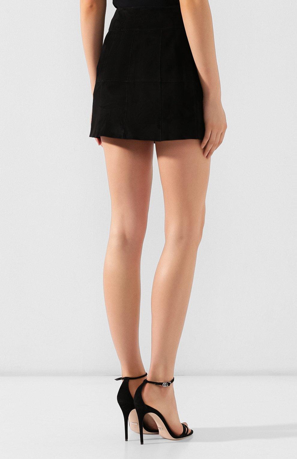 Женская кожаная юбка SAINT LAURENT черного цвета, арт. 572284/YC2RK | Фото 4