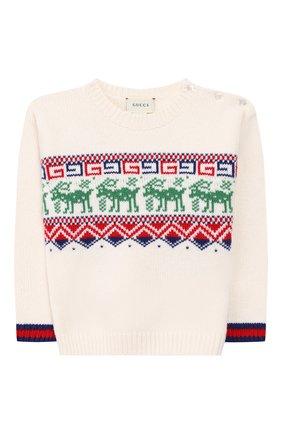 Детский шерстяной пуловер GUCCI белого цвета, арт. 565223/XKANG | Фото 1