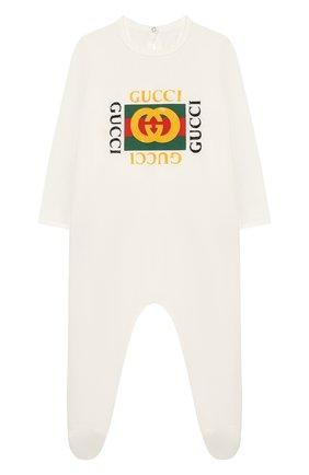 Детский хлопковый комбинезон GUCCI белого цвета, арт. 497847/X3L91 | Фото 1