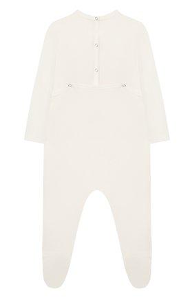 Детский хлопковый комбинезон GUCCI белого цвета, арт. 497847/X3L91 | Фото 2