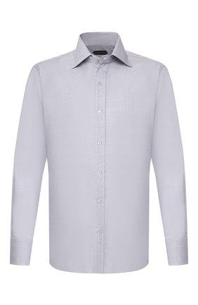 Мужская хлопковая сорочка TOM FORD светло-серого цвета, арт. 6FT786/94S1IG | Фото 1