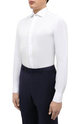 Мужская хлопковая сорочка ZEGNA COUTURE белого цвета, арт. 402300/9NS0LB | Фото 3