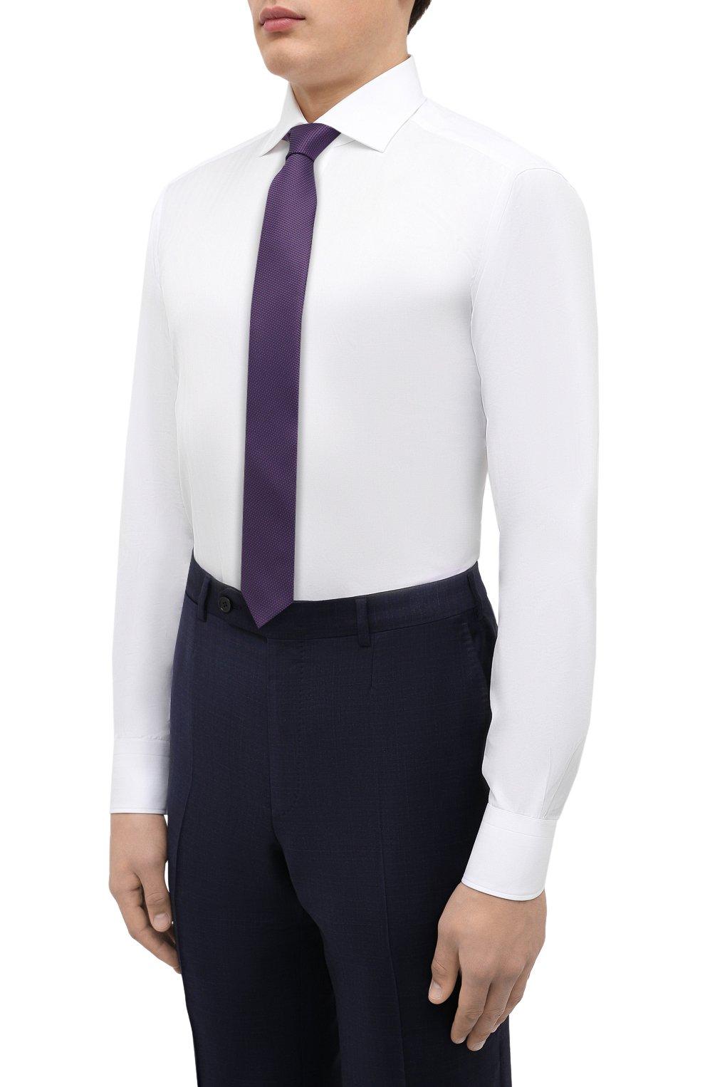 Мужская хлопковая сорочка ZEGNA COUTURE белого цвета, арт. 402300/9NS0LB | Фото 4