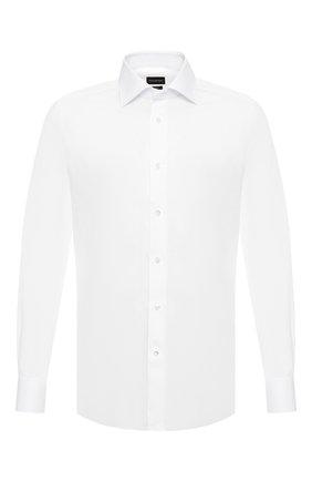 Мужская хлопковая сорочка ERMENEGILDO ZEGNA белого цвета, арт. 601031/9MS0BR | Фото 1