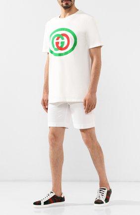Мужские текстильные кеды ace gg GUCCI зеленого цвета, арт. 576177/HMM50 | Фото 2