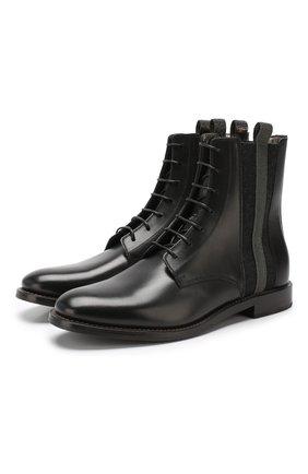 Женские кожаные ботинки BRUNELLO CUCINELLI черного цвета, арт. MZPRC1579P | Фото 1