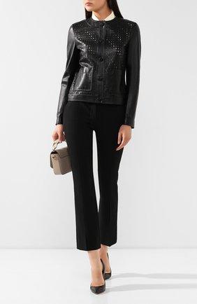 Женская кожаная куртка ESCADA черного цвета, арт. 5029853 | Фото 2