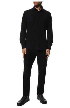 Мужские кожаные кеды GIANVITO ROSSI темно-синего цвета, арт. S26340.M1DEN.B0XDENI | Фото 2