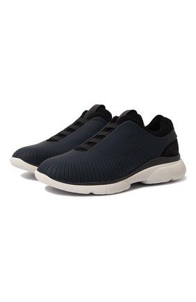 Мужские кожаные кроссовки Z ZEGNA темно-синего цвета, арт. A4121X-LHGTE | Фото 1