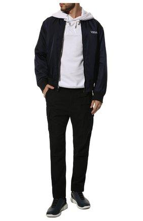 Мужские кожаные кроссовки Z ZEGNA темно-синего цвета, арт. A4121X-LHGTE | Фото 2 (Подошва: Платформа, Массивная; Материал внутренний: Текстиль; Статус проверки: Проверено)
