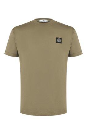Мужская хлопковая футболка STONE ISLAND хаки цвета, арт. 711524113 | Фото 1