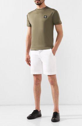 Мужская хлопковая футболка STONE ISLAND хаки цвета, арт. 711524113 | Фото 2