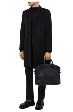 Мужская кожаная сумка для ноутбука CANALI темно-синего цвета, арт. P325153/NA00051 | Фото 2