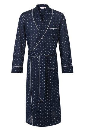 Мужской хлопковый халат DEREK ROSE темно-синего цвета, арт. 5505-NELS071 | Фото 1