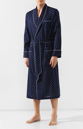 Мужской хлопковый халат DEREK ROSE темно-синего цвета, арт. 5505-NELS071 | Фото 2