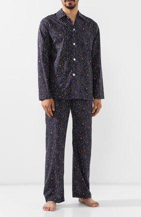 Мужская хлопковая пижама DEREK ROSE темно-синего цвета, арт. 5000-LEDB029 | Фото 1
