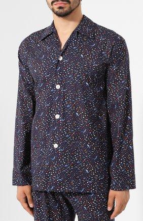 Мужская хлопковая пижама DEREK ROSE темно-синего цвета, арт. 5000-LEDB029 | Фото 2