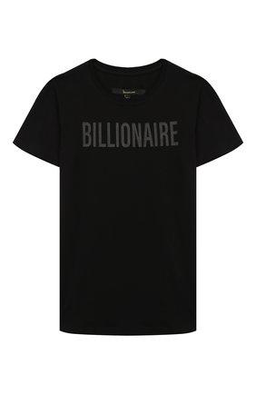 Детская хлопковая футболка BILLIONAIRE черного цвета, арт. BTK0748 | Фото 1