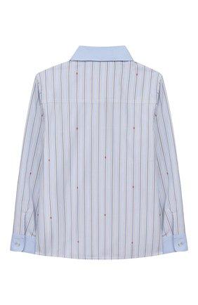 Детский хлопковая рубашка GUCCI голубого цвета, арт. 574529/XWAFH | Фото 2