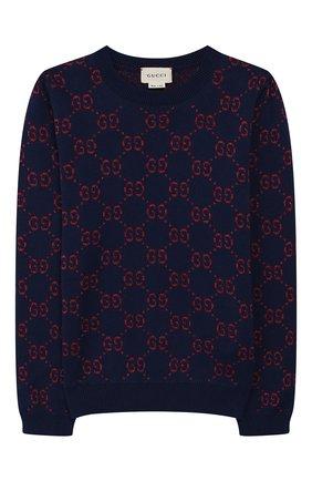 Детский хлопковый пуловер GUCCI синего цвета, арт. 571723/XKAEF | Фото 1