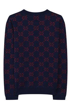 Детский хлопковый пуловер GUCCI синего цвета, арт. 571723/XKAEF | Фото 2
