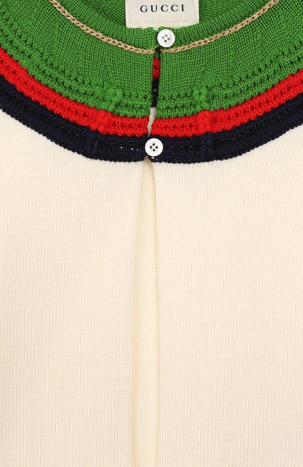 Детский шерстяной кардиган GUCCI белого цвета, арт. 571711/XKATT | Фото 3