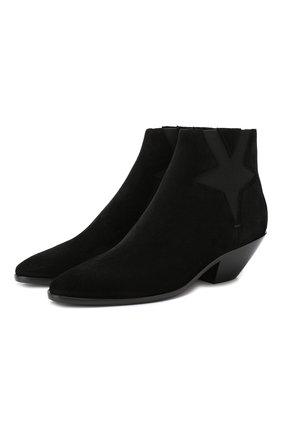 Женские замшевые ботинки west SAINT LAURENT черного цвета, арт. 579196/0W300 | Фото 1