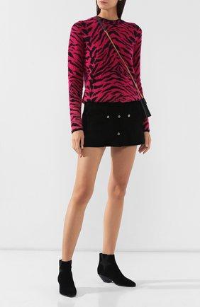 Женские замшевые ботинки west SAINT LAURENT черного цвета, арт. 579196/0W300 | Фото 2