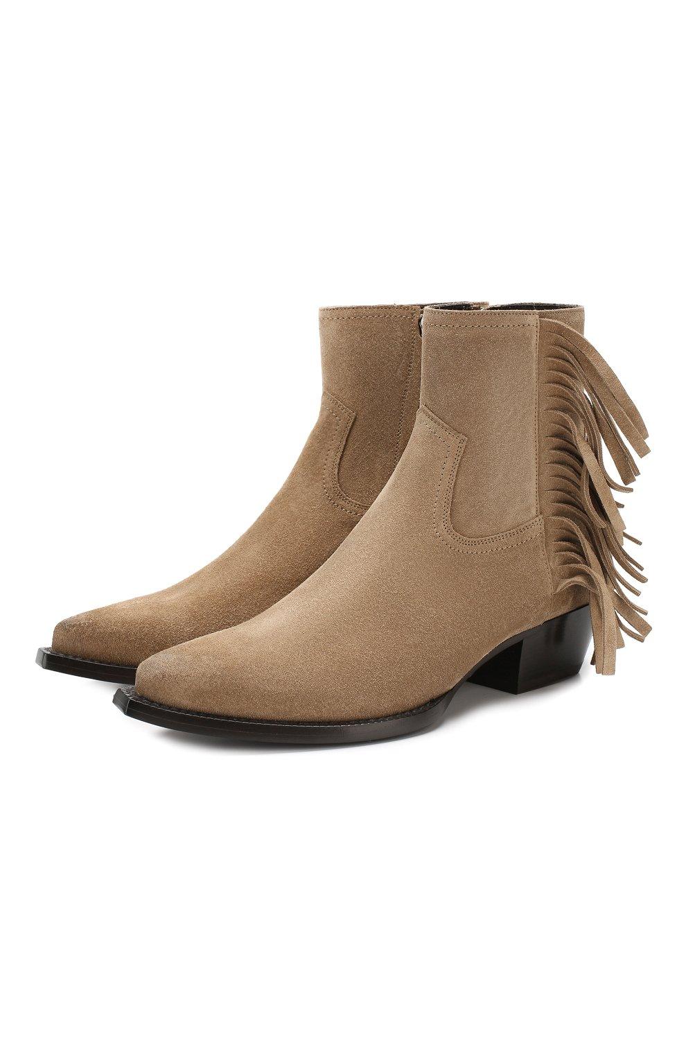 Женские замшевые ботинки lukas SAINT LAURENT светло-коричневого цвета, арт. 579119/BT300 | Фото 1