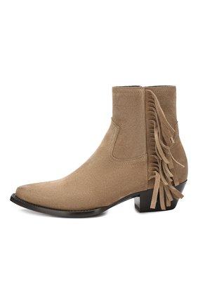 Женские замшевые ботинки lukas SAINT LAURENT светло-коричневого цвета, арт. 579119/BT300 | Фото 3