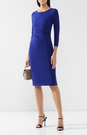 Женское платье из вискозы GIORGIO ARMANI синего цвета, арт. 6GAA70/AJDRZ | Фото 2 (Длина Ж (юбки, платья, шорты): До колена; Материал подклада: Синтетический материал; Рукава: Длинные; Случай: Формальный; Материал внешний: Вискоза; Статус проверки: Проверена категория)